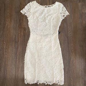 Romance Language White Backless Lace Dress